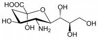 "Acide sialique bêta, structure. (fichier Commons : ""Beta_Neuraminic_acid.svg"") (domaine public) Yikrazuul, 2014"