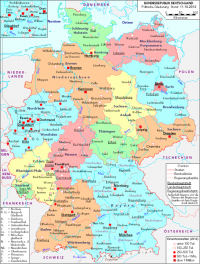 "Carte de l'Allemagne politique. (fichier Wikimedia Commons : ""Deutschland_politisch_2010"") - licence CC-BY-SA 3.0 (https://creativecommons.org/licenses/by-sa/3.0//deed.fr) Busch C., Hamburg, Allemagne, 2012"