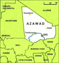 "Azaouad, carte. (fichier Wikimedia Commons : ""Azawad_map-french"") - licence CC-BY-SA 3.0 (https://creativecommons.org/licenses/by-sa/3.0//deed.fr) Mihai mad, 2012"