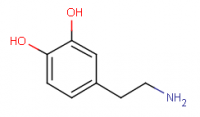 "Dopamine, structure. (fichier Wikimedia Commons : ""Molecule_dopamine"") - licence CC-BY-SA 3.0 (https://creativecommons.org/licenses/by-sa/3.0//deed.fr) Kelson, 2004"
