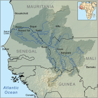 "Fleuve Sénégal, carte. (fichier Wikimedia Commons : ""Senegalrivermap"") - licence CC-BY-SA 3.0 (https://creativecommons.org/licenses/by-sa/3.0//deed.fr) Kmusser, 2010"