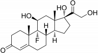 "Fludrocortisone, structure. (fichier Commons : ""Fludrocortisone_structure"") (domaine public) Edgar181, 2007"