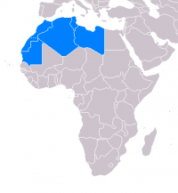 "Maghreb, carte des pays de l'Union du Maghreb arabe (Arab Maghreb Union). (fichier Wikimedia Commons : ""Maghreb"") (domaine public) SpLoT, 2007"