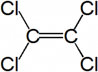 "Tétrachloréthylène = perchloréthylène, structure. (fichier Wikimedia Commons : ""Tetrachlorethylene.png"") - licence CC-BY-SA 3.0 (https://creativecommons.org/licenses/by-sa/3.0//deed.fr) Cmx~commonswiki, 2005"