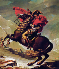 "Marengo, un cheval de Napoléon 1er. Ici, Napoléon traverse les Alpes. (fichier Wikimedia Commons : ""Jacques-Louis_David_007"") (domaine public) David Jacques-Louis (1748–1825), 1801"