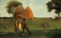 "Sevrage du veau (""Weaning the Calf""). Collection : North Carolina Museum of Art. (fichier Wikimedia Commons : ""Winslow_Homer_-_Weaning_the_Calf_(1875)"") (domaine public) Homer Winslow (1836–1910), 1875"